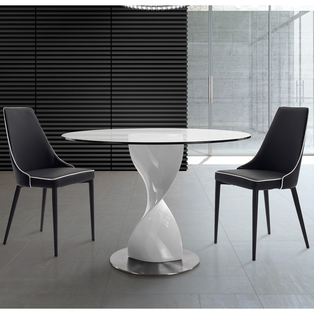 Fred round table with satin stainless steel base, fiberglass column and glass top