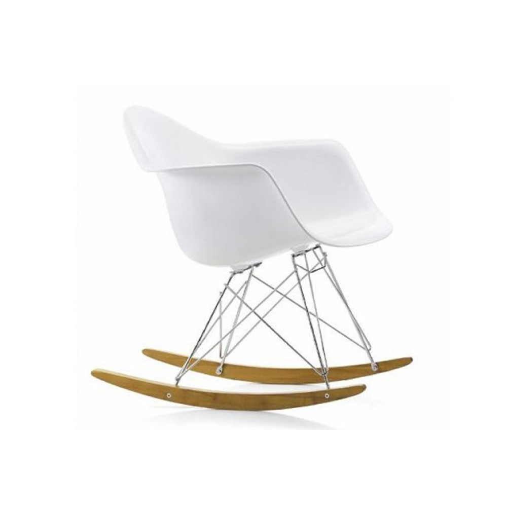 Sedia Dondolo Eames.Re Edition Of The Eames Rocking Chair With Metal Frame And Polypropylene Seat