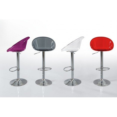 Kent stool with a91 chromed steel base and gas lift with polycarbonate seat