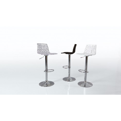 Klass stool with chromed A91 steel base and gas lift with polycarbonate or polypropylene seat
