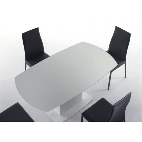 Bond extendable table with revolving extrawhite glass top and steel and wood structure