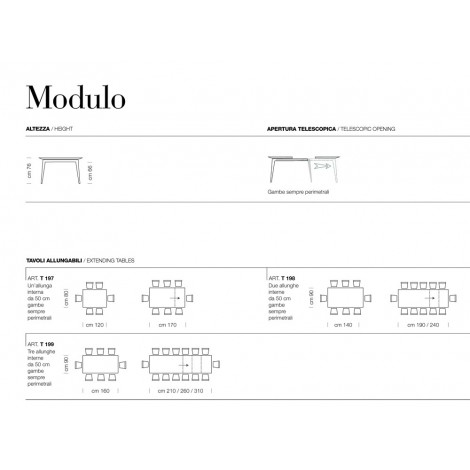 Extendable Modulo table with an extension of 50 cm inside white melamine top and white structure