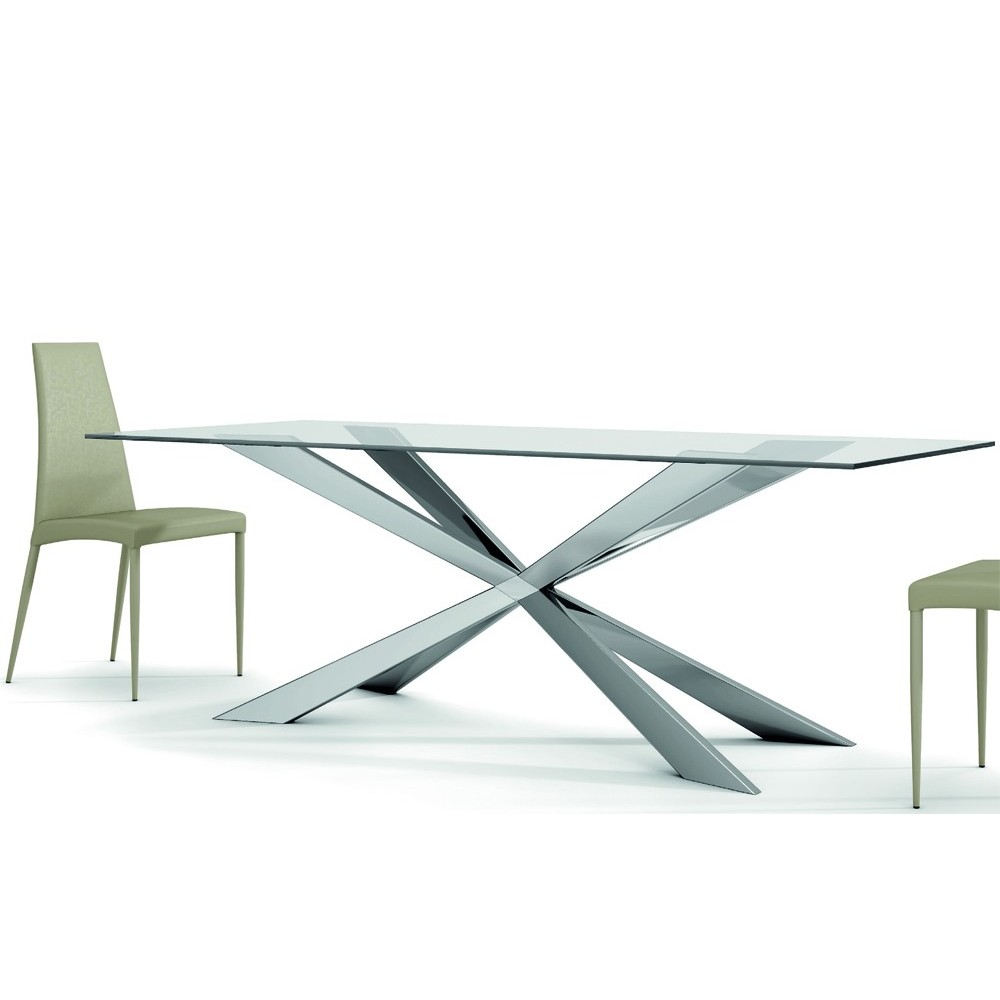 Spring fixed table with crossed legs in polished stainless steel and transparent xwo glass top