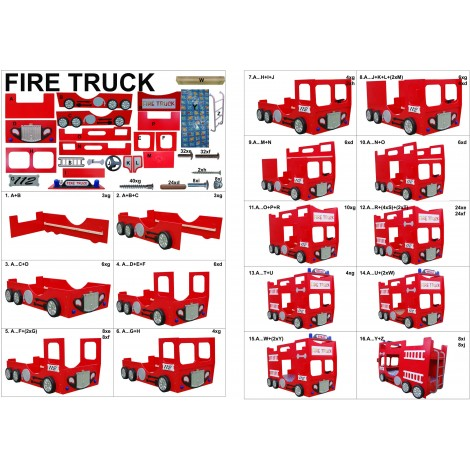 Lettino a castello FIRE TRUCK DOUBLE