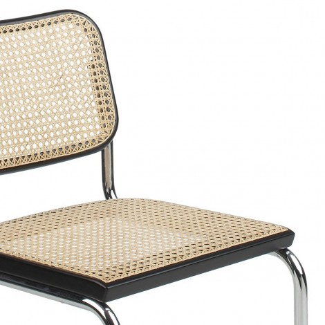 Re-edition of Cesca chair by Marcel Breuer with structure in steel and cane