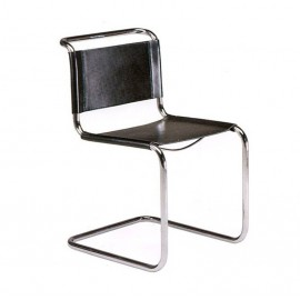 Re-edition of the Cantilever chair by Mart Stamo in chromed tubular and leather seat