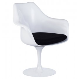 Re-edition of Tulip armchair by Eero Saarinen base in cast aluminum and seat in ABS cushion in real leather or fabric