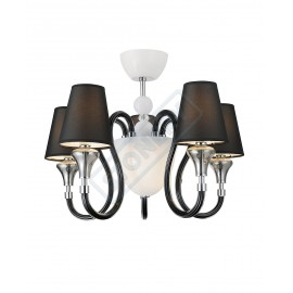 Lumiere 5 lights chandelier with glass arms and black fabric lampshades