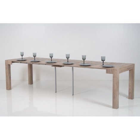 Look extendable console with metal frame and wooden structure. Available in 5 different finishes