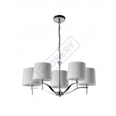 Chandelier Grace with 5 chromed steel lights and fabric lampshades