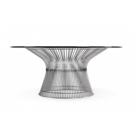 Re-edition of Platner smoking table by warren platner in steel and glass