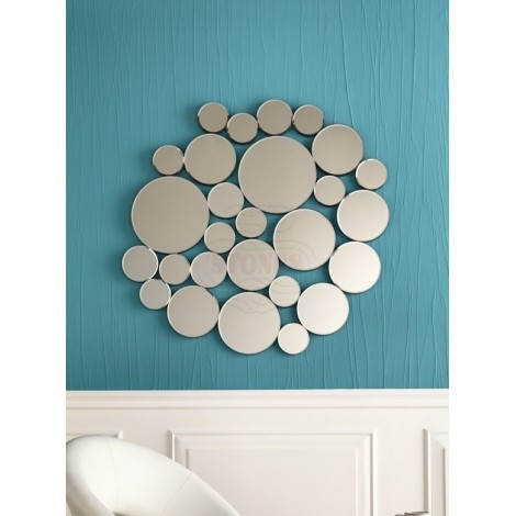 Wall Mirror 15 by Stones with round mirrors assembled. Dimensions in cm: 98 X 97 H 2