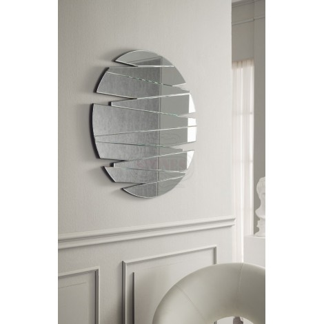 Round 21 Stones mirror with wedges assembled to create a cut effect. Very nice and modern