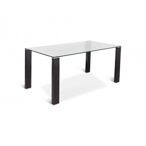 Fixed dining table with legs covered in black regenerated leather and transparent glass top