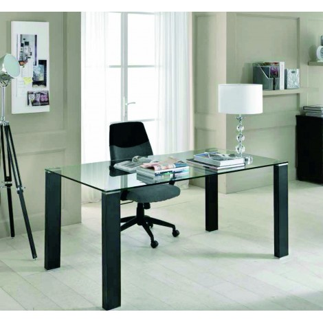 Dining table Slash with legs upholstered in regenerate black leather ...