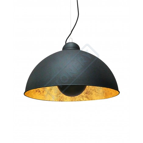 Antena di Stones suspension lamp with half-sphere aluminum lampshade inside in gold or silver with reflected light