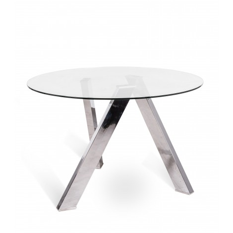 Round Rondo table with structure in white metal or steel and top in transparent glass