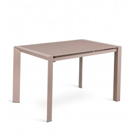 Pixel extendable metal table with glass top available in multiple finishes. Suitable for living rooms or kitchens