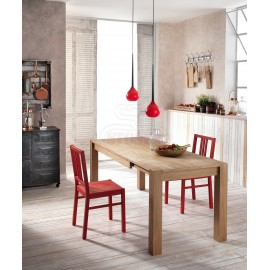 Wood extendable table in veneered wood available in two different finishes. Suitable for living rooms and dining rooms