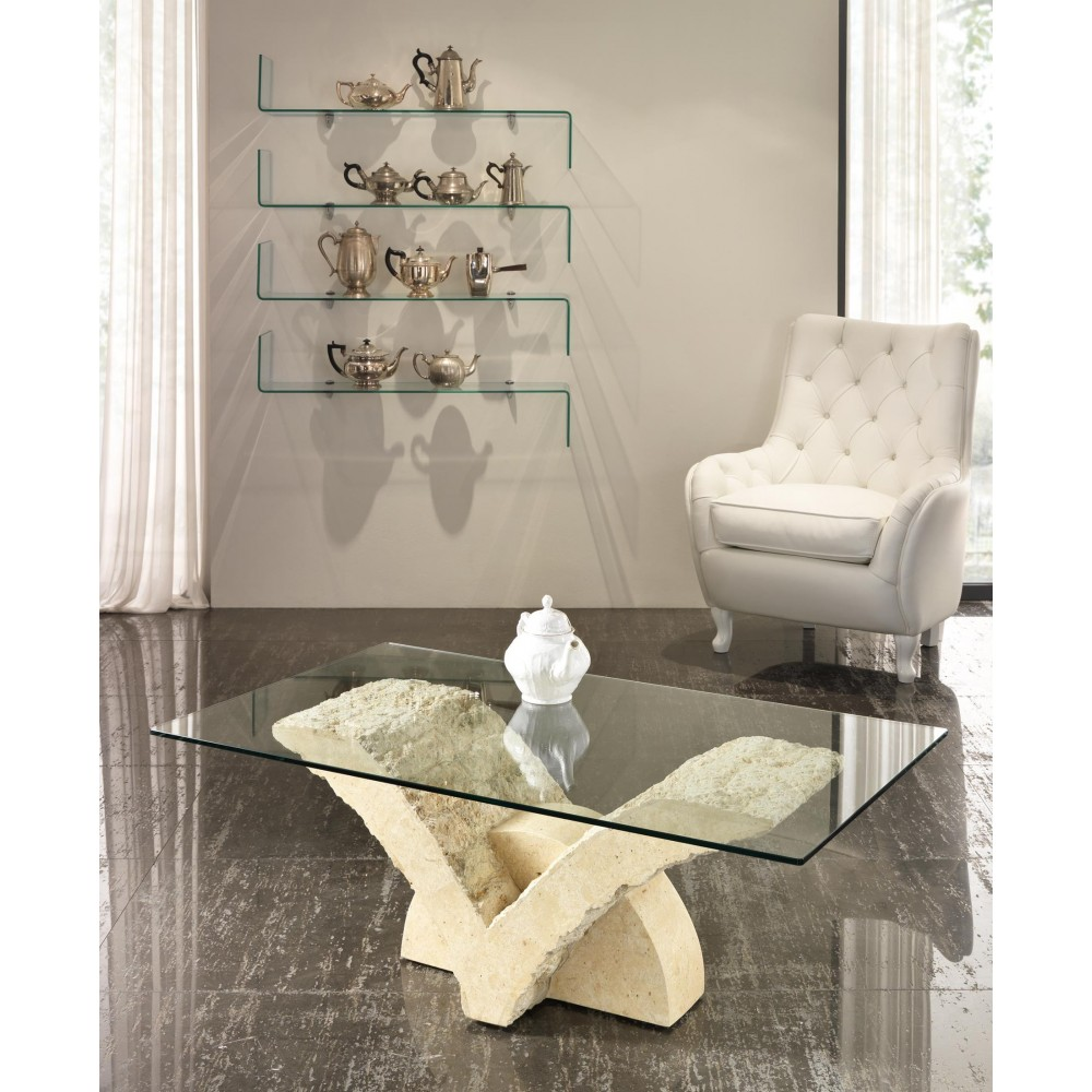 Papillon smoking table with glass top and fossil stone base