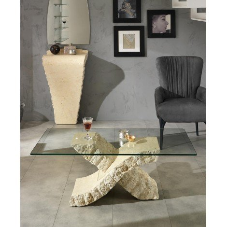 Xenon coffee table stones with fossil stone base and glass top available in two different finishes