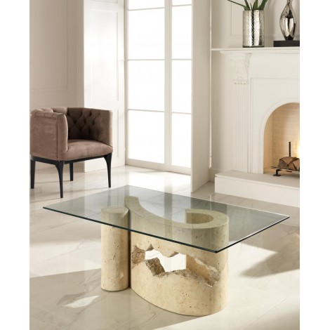 Virgola smoking table with stone base and transparent glass top. Suitable for all locations