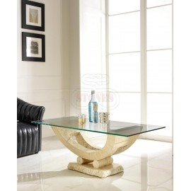 Gondola smoking table with fossil stone base and transparent glass top suitable for living rooms, studios and hotels