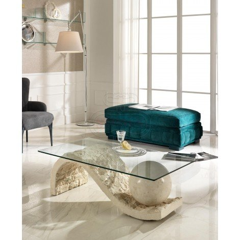 Onda smoking table of the Stones line with base in fossil stone and glass top suitable for all habitants