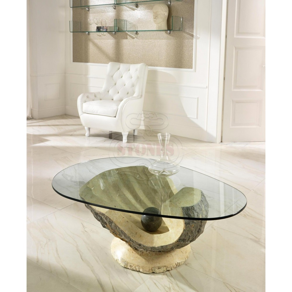 Fossil stone smoking table and 10 mm transparent glass top. Suitable for rustic and living rooms