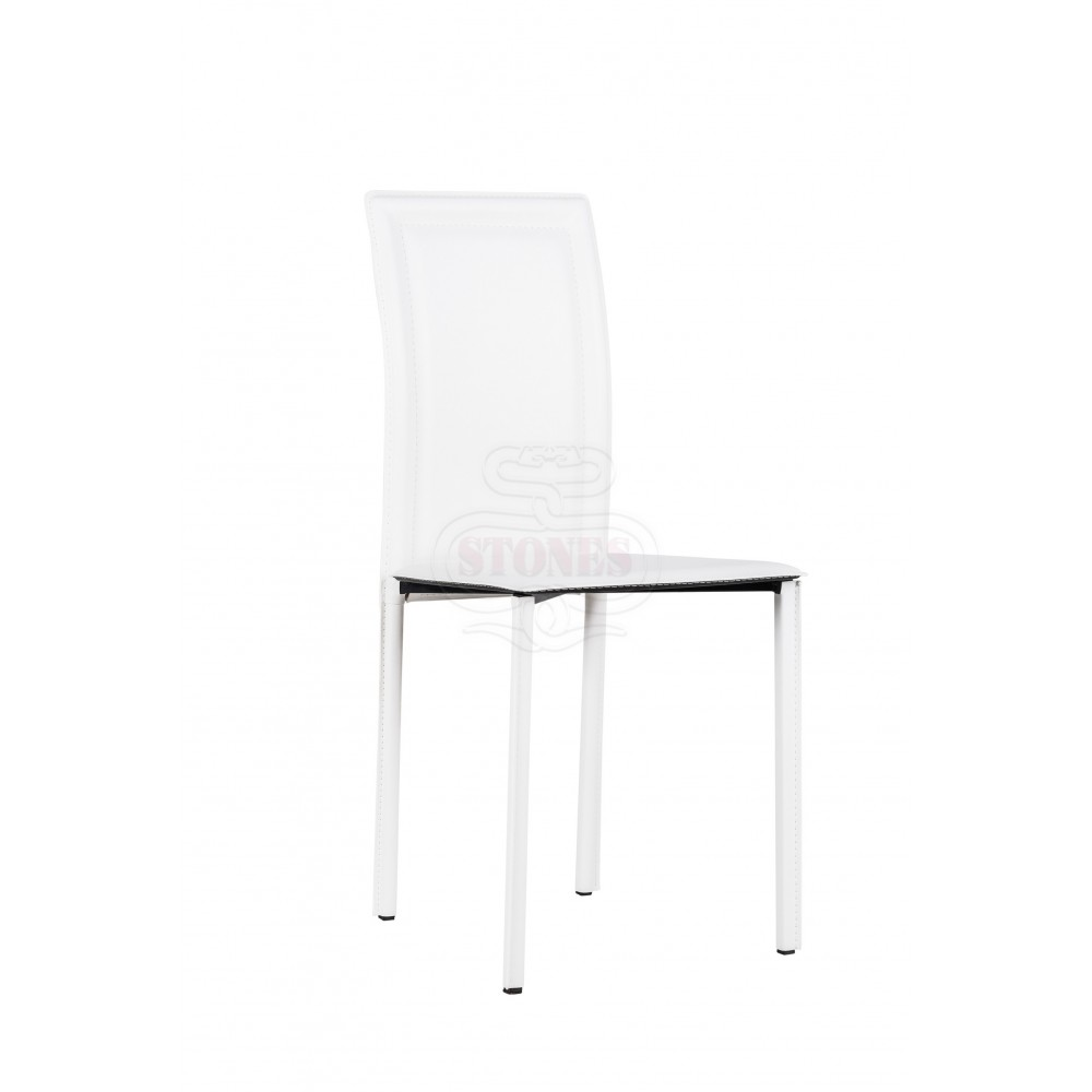 Net chair of the Stones line with imitation leather covering with metal structure. Available in multiple finishes