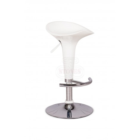 Kevin stool of the Stones line with chromed metal base and polypropylene seat available in three different finishes