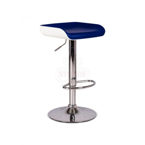 Ken stool of the Stones line with chromed metal structure and padded seat covered with imitation leather
