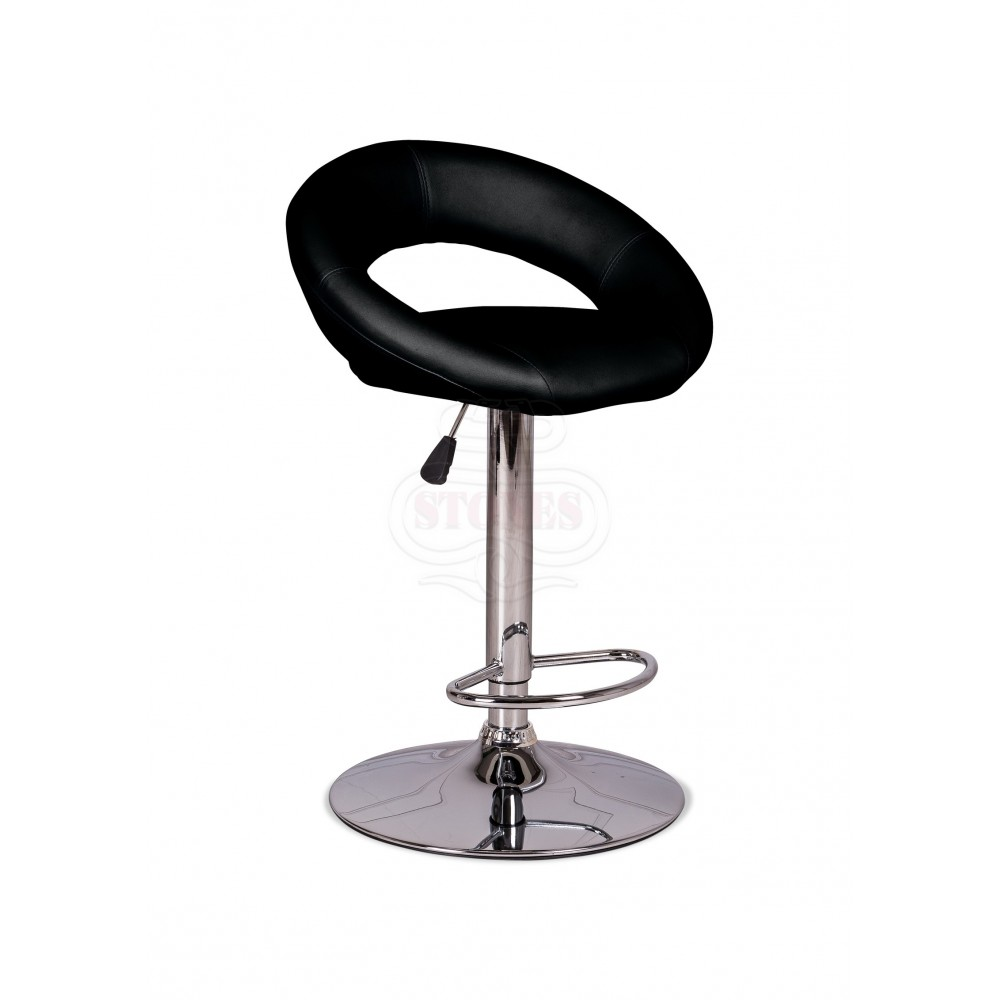 Kolbi stool in chromed metal covered with imitation leather available in four colors