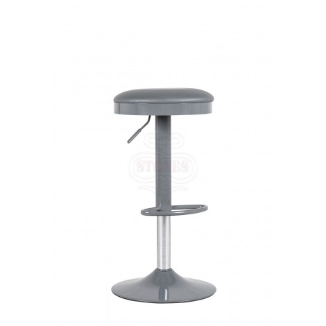 Karl stool with chromed metal structure and padded seat covered in PU available in two finishes