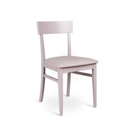 Monaco wooden chair with PU padded seat in various finishes