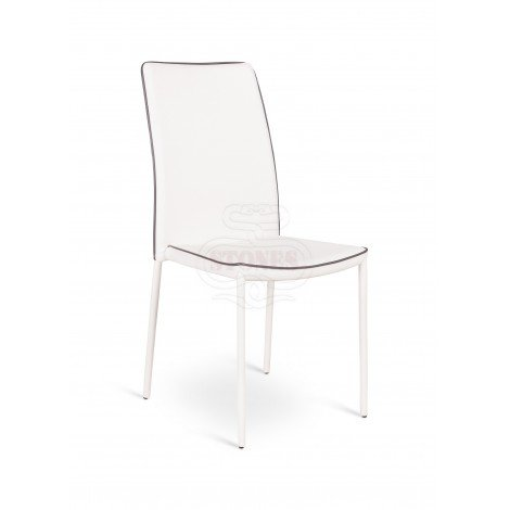Ruby chair with metal structure and covered in imitation leather in cappuccino and white colors