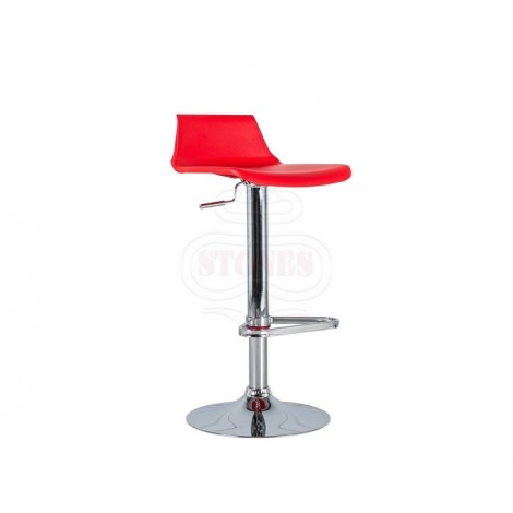 Fred stool with chromed metal frame and pvc seat and piston mechanism to adjust the height