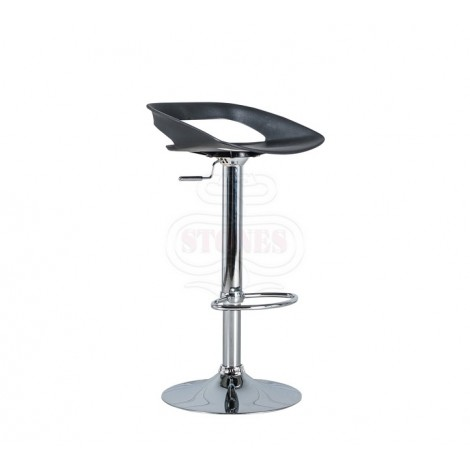 Glen stool with chromed metal structure and pvc seat available in white black and red