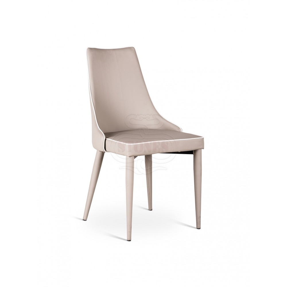 Myriam metal chair covered with well padded imitation leather and available in two finishes