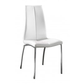 Viva chair with chromed metal frame covered with imitation leather available in two different finishes