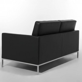 Re-edition of the Florence Knoll 2 and 3-seater sofa covered in real Italian leather