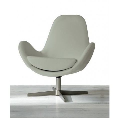 Olga armchair with swivel satin metal foot with imitation leather upholstery and removable cushion