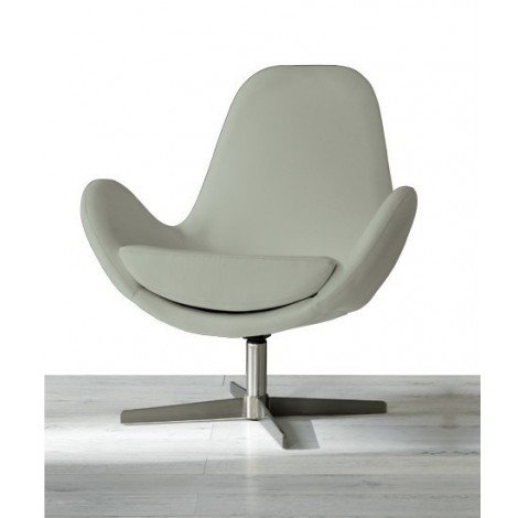 Olga armchair with swivel satin metal foot with padding covered in imitation leather and removable cushion