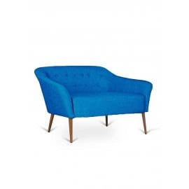 Two-seater sofa in metal with fabric covering available in many finishes