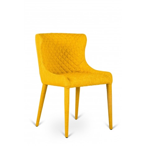 Fully upholstered metal Aphrodite chair with diamond stitching available in three colors
