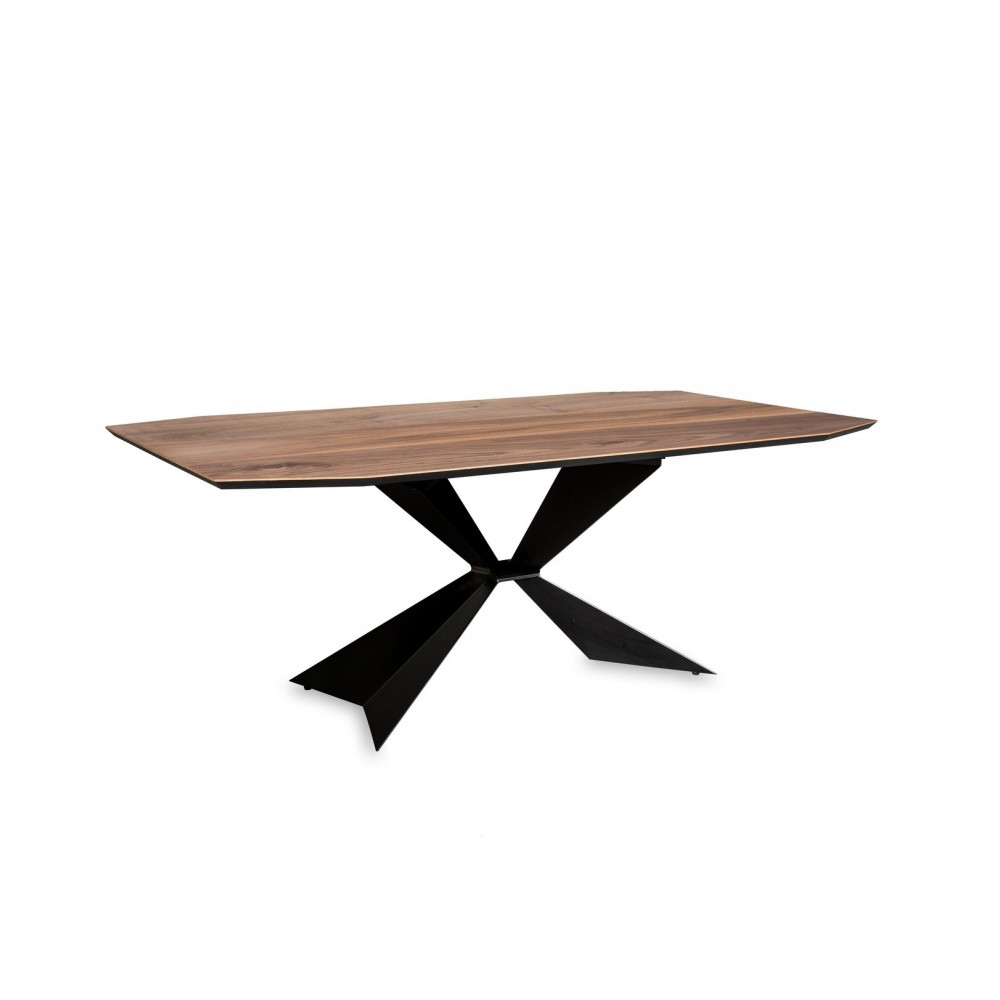 Texas fixed table with walnut veneered top with black painted metal base