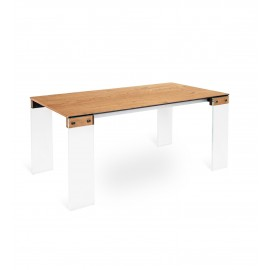Cloud extendable table with 10 mm extra-clear tempered laminated glass frame and oak veneered top