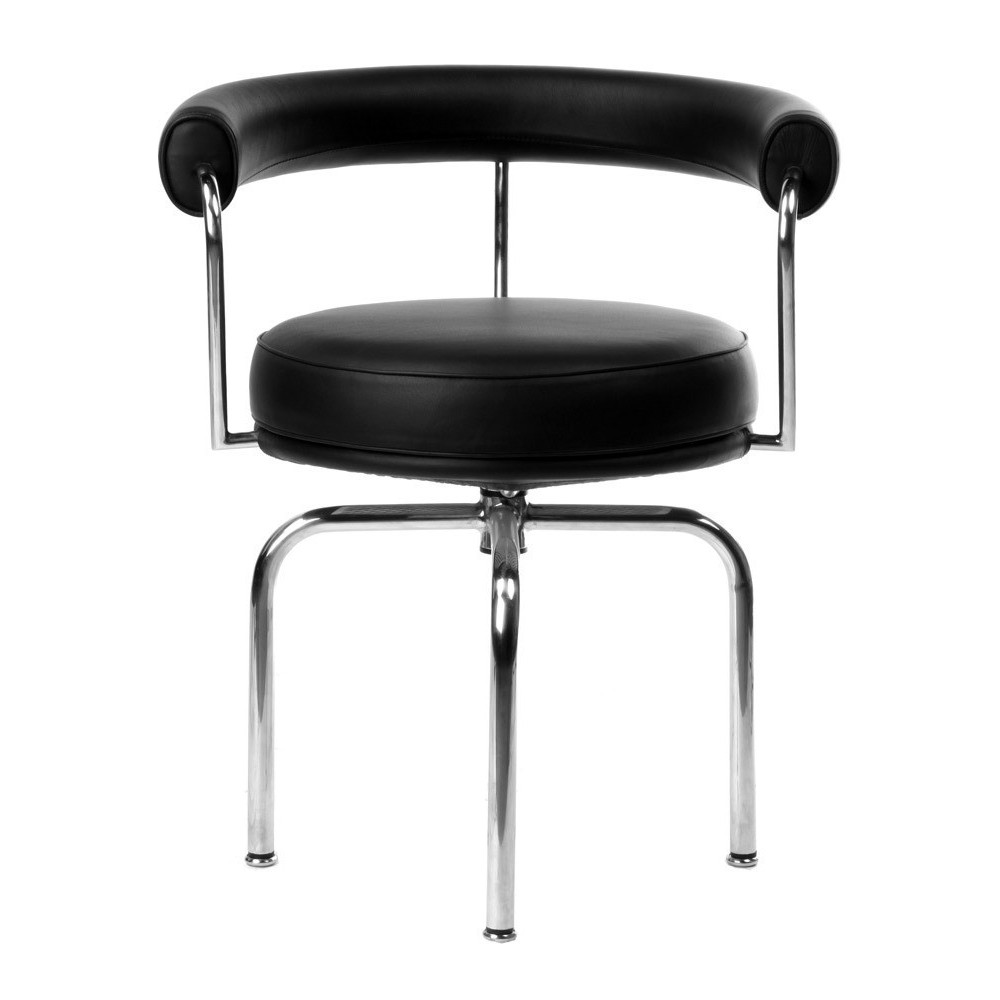 Re-edition of LC7 swivel chair by Le Corbusier in chromed steel covered in real Italian leather