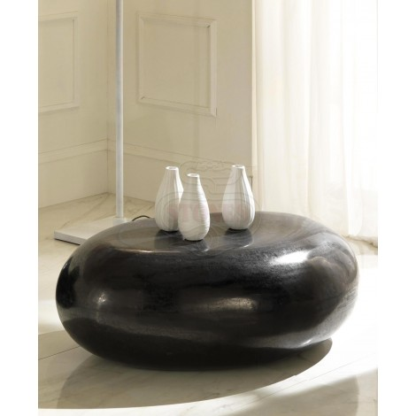 Black stone rhombic fossil coffee table available in two different sizes