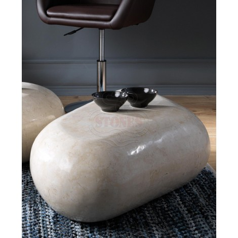 White Agata fossil stone smoking table available in three different sizes